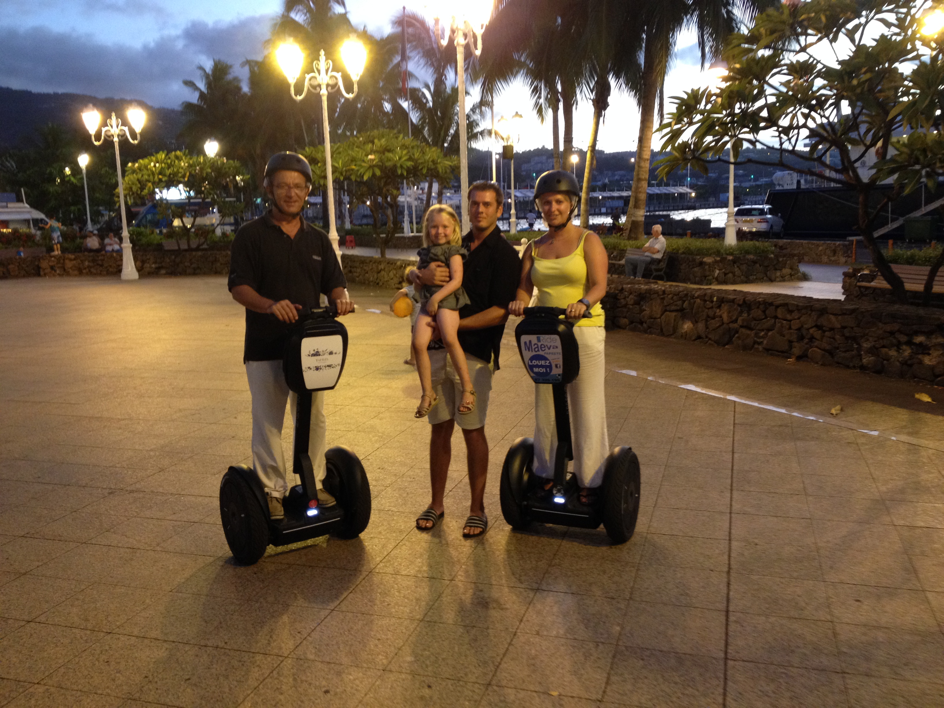Place Vaiete by night with Segway