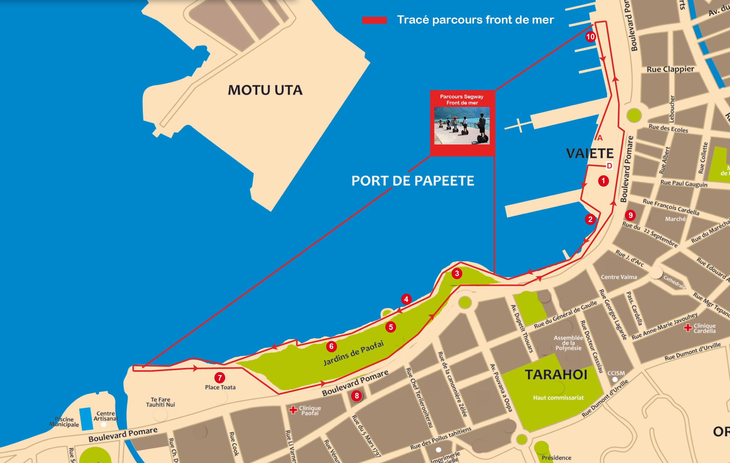 Plan balade front de mer Papeete en Segway
