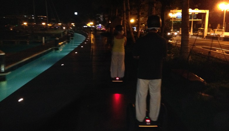 Segway ride at the Port of Papeete by night
